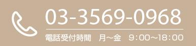 03-3569-0968 電話受付時間 月~金 9:00~18:00